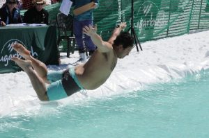 Jonny dives into icy pond