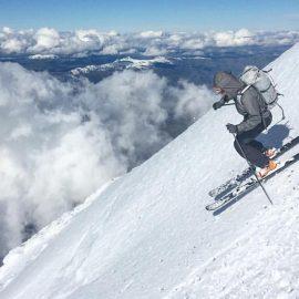 Aaron descending Lanín volcano