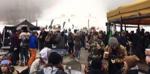 Crowd shot in the rain