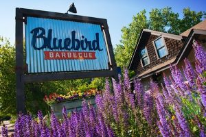 Bluebird Barbecue restaurant, sign, and lavender shrub