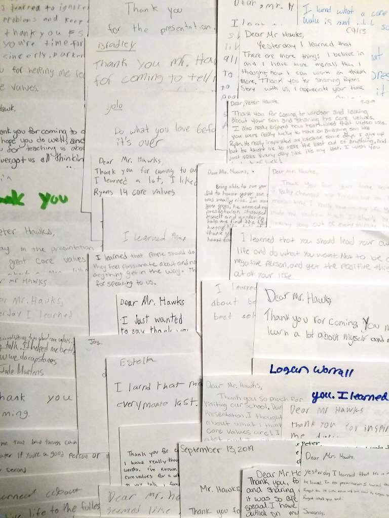 Notes of thanks from students