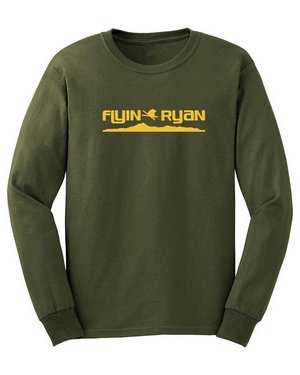 Long sleeve T-shirt, olive with yellow skyline logo